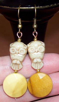Natural Gemstone and Czech Owl Bead Pierced Hook Earrings,U PICK STONE | evezbeadz #bmecountdown- Jewelry on ArtFire
