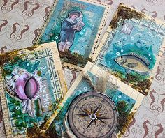 Riikka Kovasin - Paperiliitin: By The Sea ATC cards - Canvas Corp Brands - ATC Mixed Media cards with 7gypsies Maritime Collection - beautiful nautical papers and ephemera