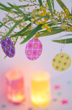 Love the hanging paper eggs in all the different patterns.