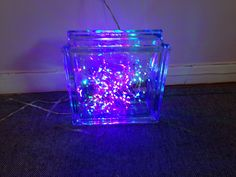 String Lights For Glass Blocks : Glass cubs on Pinterest Vinyl Lettering, Glasses and Scarecrows