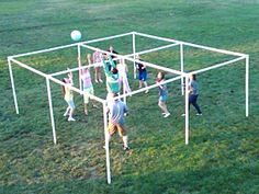 Volley Square, made with PVC pipe. Great mix of four square and volleyball.