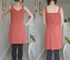 refashioned dress from man's shirt. Simple tutorial.