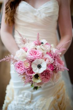 #Pink plus #Anemones | See the elegant wedding on SMP - http://www.StyleMePretty.com/little-black-book-blog/2014/01/10/dar-headquarters-pink-gold-wedding/ Rebekah Hoyt Photography
