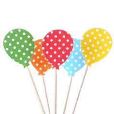 Balloon Cupcake Toppers 24 Polka Dots