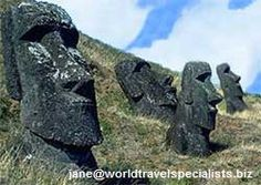 """Easter Island is noted for its stone human statues (called """"moai"""") carved from volcanic rock.  jane@worldtravelspecialists.biz"""