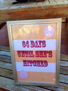 Hen party bridal shower wedding countdown sign! Peach stripes!
