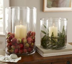 Double Wall Hurricane candle holder from Pottery Barn. The center holds a pillar candle protected with a glass sleeve where you can add seasonal décor around the perimeter. Nature inspired décor such as faux berries and foliage can be picked up at a local arts and crafts store or check out Williams-Sonoma Seasonal Hurricane Filler.