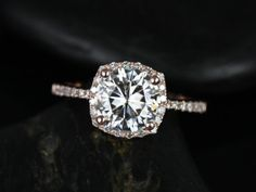 Barra 8mm Size Rose Gold Round FB Moissanite Cushion Halo Diamond Engagement Ring (Other metals and stone options available)