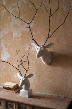 White ceramic mounted deer head