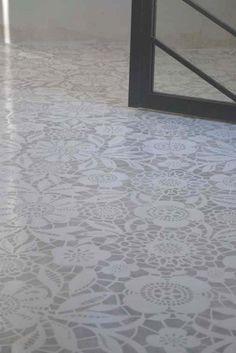 Concrete floor painted and stenciled via @BleuePièce
