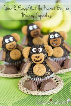 Quick and Easy Nutella Peanut Butter Monkey Cupcakes by Roxy's Kitchen