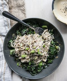 soba noodles + ginger tahini w/ crispy kale, shallots + romaine • what's cooking good looking