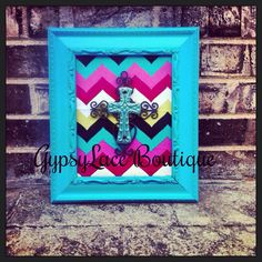 Fabric Frame Cross Decor on Etsy, $30.00