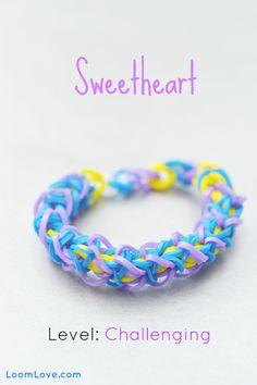 How to Make a Sweetheart Bracelet #kids #crafts #stretchband #loopband #loombracelet