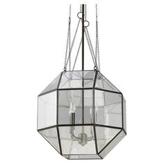 Add eye-catching style to your foyer or kitchen with this striking pendant, showcasing a faceted silhouette and steel frame.  Produc...