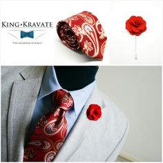 Necktie - Ruby  Red Blooming Lapel Flower  WWW.KINGKRAVATE.COM
