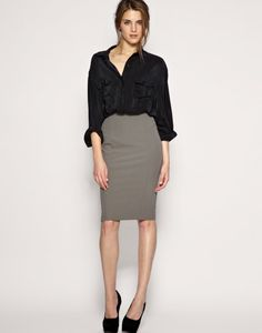 Office formal look - black shirt and pencil grey skirt. Black shoes and the formal chic look is done!