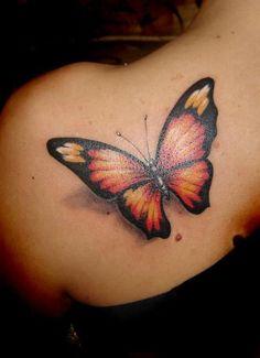 Realistic 3D butterfly tattoo. #tattoo #tattoos #ink