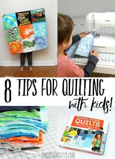 Check out these helpful tips for quilting with kids - sewing with kids doesn't have to be stressful! See the quilt sewed by a 5 year old boy (with some help!) and read a review of the Sewing School Quilts book that is chock full of patchwork projects that kids can sew. #quilting #parenting #sewing