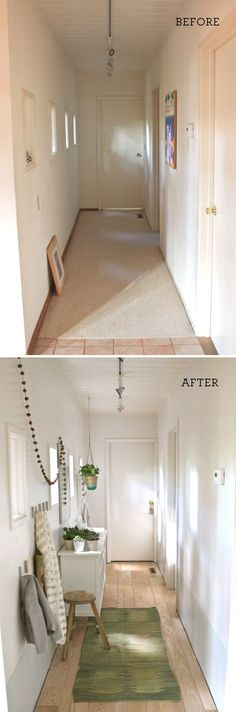How to: Hallway Before and After. Turn an unused space into an organized, welcoming starting place for your day.  |  Design Mom