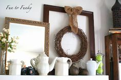 mantle/ledge decor. The wreath hung from a picture frame is a great idea!
