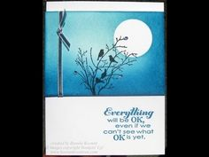 cardmadking video: Stampin' Up! card with sponging and masking! - YouTube ... moon and sky background for silhouette stamps ... from Keenan Kreations