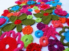 Flower power crochet scarf