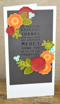 Merci Card by Nichole Heady for Papertrey Ink (November 2012)