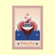 Wedding Cruise Heart Ship Invitation $2.45 per invite order in bulk and pay less! By XG Designs NYC #cruise #wedding #invitation