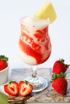 Lava Flow Cocktail; 1 1/2 oz. light rum, 2 1/2 oz. coconut cream, 2 oz. fresh strawberries, 1 small banana, 2 oz. unsweetened pineapple juice