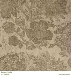 Peony in Khaki from Tylergraphic #textiles #fabric #brown