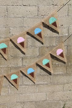 Ice Cream Cone Burlap Banner - Great for a Birthday Party or Wedding Ice Cream Bar