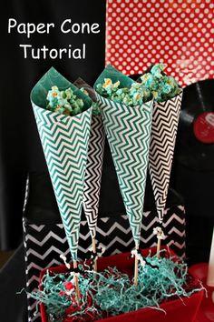 DIY party favor cones. Tutorial on Bridgeywidgey.com