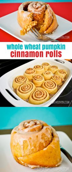 Whole Wheat Pumpkin Cinnamon Roll Recipe.  Perfect for cool fall mornings (or afternoons, or any time!).