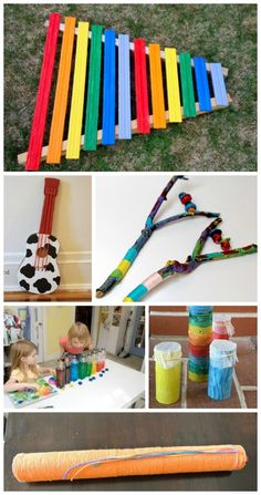 {Homemade Instruments using Recycled Materials}  Some amazing make-your-own instrument ideas for kids using items from around the house!