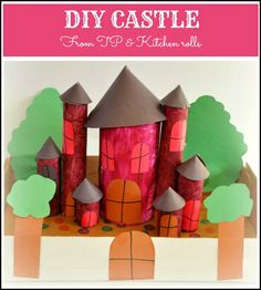 Paper roll castle for a fun pretend play session. Make it a princess or a knights themed castle.