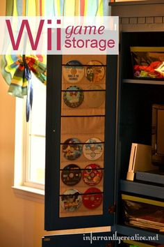 wii game storage on the inset of your cabinets