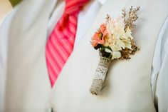peach and yellow boutonniere #boutonniere #rustic #burlap
