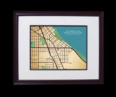 First Home City Map House Warming Gift Idea