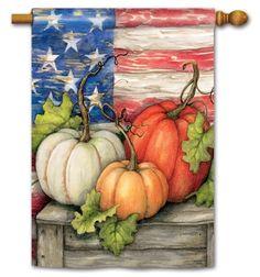 Patriotic Pumpkins BreezeArt Decorative Standard House Flag