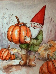 Gnome and Mouse Thanksgiving or Autumn Greeting Card by InkandLace, $3.50