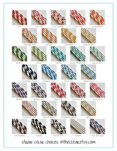 150 Printed Design Paper Straws with Editable PDF File - Stripes and Dots - Mix and Match Colors - Weddings - Parties - Favors. $24.50, via Etsy.