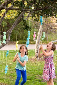 DIY Candy-Filled Egg Popper Tree, great for older kids during the Easter egg hunt