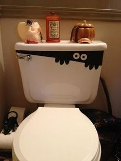 POO... oops i mean... BOO! ;) here's the perfect way to reflect the holiday & scare the cr@p out of ur little ones this Halloween,.. literally!  LOL  The creature peeking out from under the tank lid is really just too cute! halloween decorations, halloween parties, toilet, contact paper, angl, kid bathrooms, cut outs, halloween ideas, eye