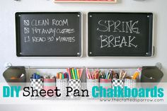 The Crafted Sparrow: DIY Sheet Pan Chalkboards