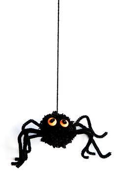 DIY:  Cute little yarn and pipe cleaner spiders to decorate the house.