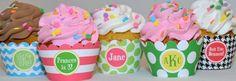 Monogram cupcake wrappers, so cute!!!