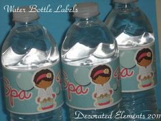 Spa Party Water Bottle Labels by ButtafliCrafts on Etsy, $10.00