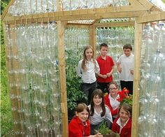 DIY Greenhouse out of plastic bottles! Great for teaching about light, heat, insulation. Try small scale version w/ different materials to test properties and chart temps. #homeschool #science