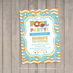 Kids Pool Party Invitation / Pool Party Invitation / Pool Invitation / kids pool party / Pool birthday / Party Digital Printable DIY. $12.00, via Etsy.